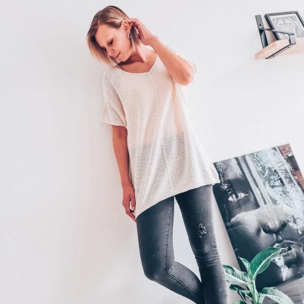 Grof gebreide Ibiza top off-white