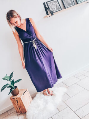 Maxi dress met gevlochten ceintuur blauw